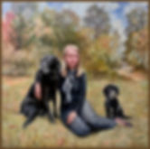 Portrait of Rachel Gibbs with her dogs. Family Oil portrait by Igor Babailov. Private Collection.