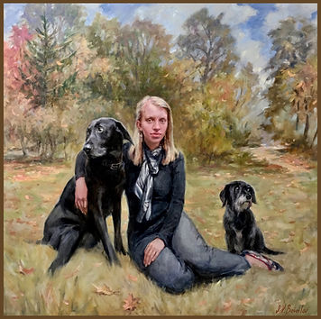 Portrait of Rachel Gibbs with her dogs. Family Oil portrait painting by portrait artist Igor Babailov. Private Collection: Nashville, TN.
