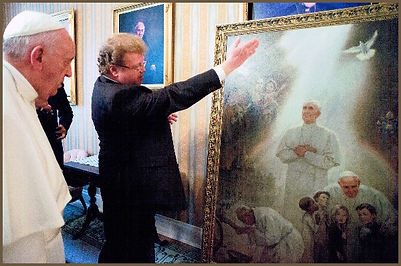 Pope Francis and Igor Babailov, official portrait unveiling, the symbolism, collection: Vatican
