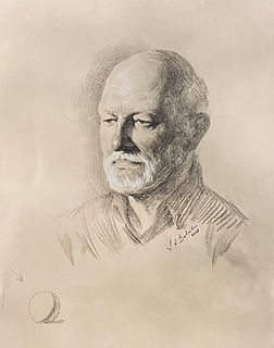 Portrait drawing of Don Stonebridge, charcoal on paper, by Igor Babailov; Demonstration for 70 members of the Bellport Arts Council, LI, New York.