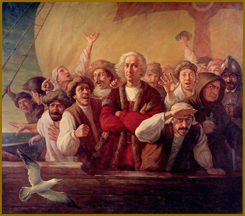For Gold, God and Glory - Christopher Columbus portrait, Historic Mural, Group Portrait of Christopher Columbus (oil on canvas), Artistic Creation: by Igor Babailov, American history, Mural size figurative historic paintings.