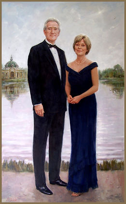 Portrait of Jack and Lynda Stone, by portrait artist Igor Babailov. Group famoly oil portrait painting. Private collection: Nashville, TN
