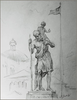 Saint Christopher, Franciscan Monastery - sketch from life by Igor Babailov