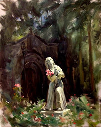 St. Bernadette. Franciscan Monastery of the Holy Land, Washington, DC. Plein Air painting by Igor Babailov