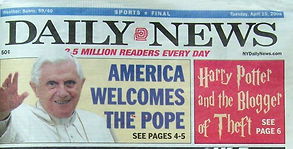 New York Daily News, two-page feature about Igor Babailov's Vatican portrait of Pope Benedict XVI