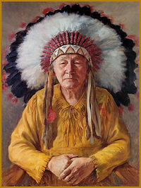 Portrait of Andrew C. Maracle, Indian Mohawk chief, Chief Advisor to the First Nations, oil on canvas by Igor Babailov