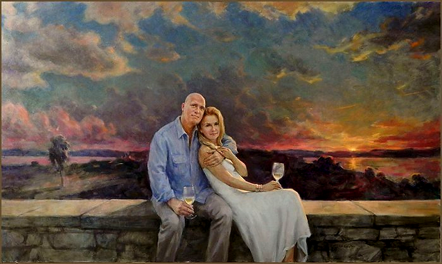 Family portrait painting of Andrea and Bill Wells - Vermont, group oil portrait by Igor Babailov