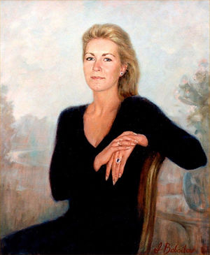 Portrait of Susan Desmarais, oil on canvas, by portrait artist Igor Babailov. Montreal, Canada