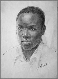 Life portrait drawing of African man, Samuel from Uganda (graphite), by Igor Babailov, Fine art portraits of African and black people,