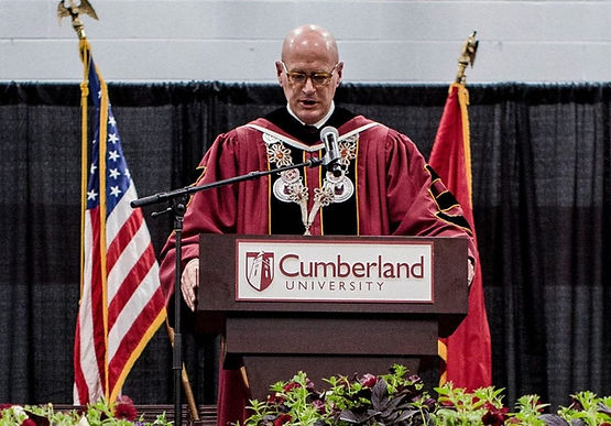 Dr. Paul Stumb, Cumberland University, awarding the Honorary Doctorate to Igor Babailov