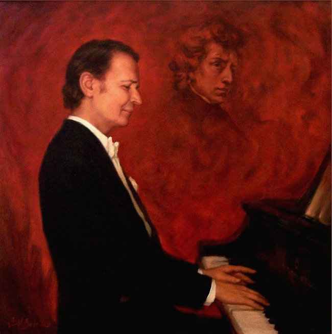 Portrait of legendary American pianist, Byron Janis, by portrait artist Igor Babailov. Official unveiling in New York City.