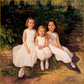 The Crimmins children, group family portrait painting by portrait artist Igor Babailov. Pittsburgh, PA