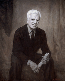 "Portrait of Claude-Andre Piquette, Interior Designer (oil on canvas, Grisaille manner, 43""x 32""), by portrait artist Igor Babailov, Private collection: Montreal, Quebec"