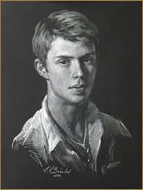 Nikita Babailov, the artist's son (White pencil on black paper)