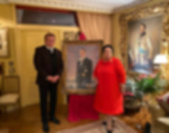 Her Imperial Highness Grand Duchess Maria Vladimirovna and Artist Igor Babailov with the Portrait of H.I.H. Grand Duke Vladimir Kirillovich Romanov, by Igor Babailov. Collection: Imperial House of Romanov