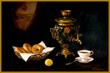 Still-life with Samovar, painting from life by Igor Babailov