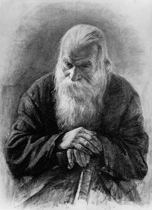 Portrait of an Old Man, Drawing by Igor Babailov, Charcoal on paper, drawing from life.