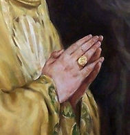 Pope Benedict XVI portrait by Igor Babailov - Painting hands in prayer. The Seven Essentials.