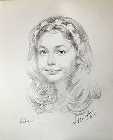 Katie (Graphite) Life portrait by Igor Babailov, Portrait drawings of Children