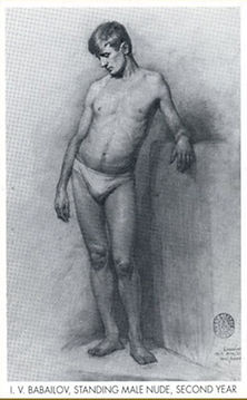Drawing Male Standing Nude, Academic study, by Igor Babailov