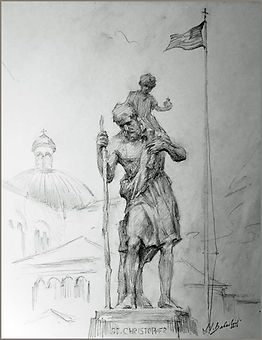 St. Christopher, the patron of travelers, Fransiscan Monastery in Washington, DC. Drawing by Igor Babailov.