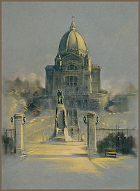 Montreal Cathedral, St. Joseph Oratory. Pastel en Plein Air by Igor Babailov