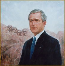 Official Portrait of President George W. Bush, Commissioned & Presented on the Occasion of G8 Summit, Kananaskis, AL. Collection: George W. Bush Presidential Library. Oil on canvas portrait by portrait artist Igor V. Babailov