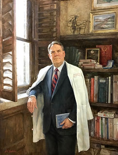 Official oil portrait of C. Wright Pinson, MD, MBA, CEO of the Vanderbilt Health System, Nashville, TN,  by portrait artist Igor Babailov