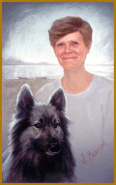 Portrait of a Woman and her Dog, pastel portrait by Igor Babailov. Private collection.