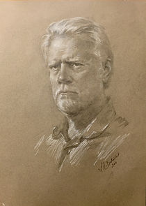 Portrait Drawing of Cliff Morrison, by portrait master Igor Babailov (graphite, w. chalk).