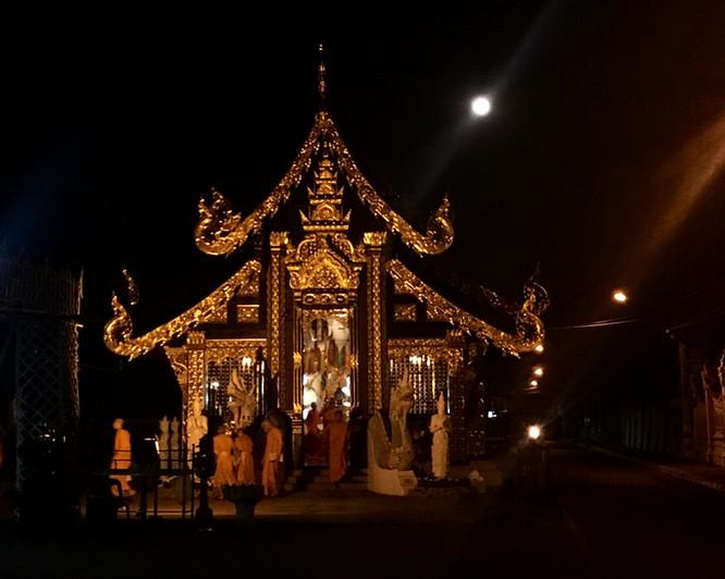 Buddhist chants of monks at dawn