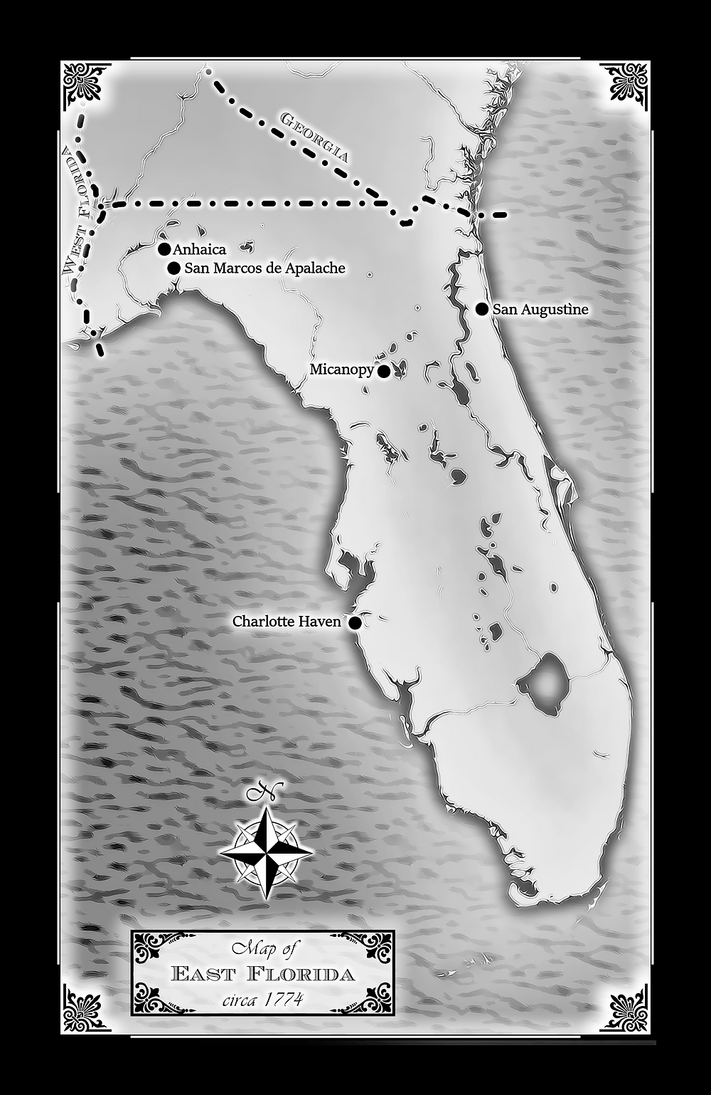 map of West Florida appearing in the Colonial Gothic Atlas