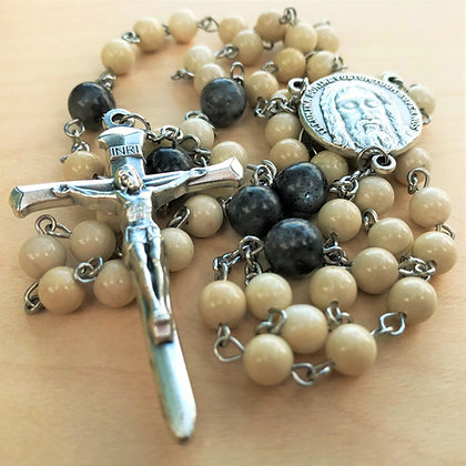 Blessed Redemption Rosary by Born Again Rosaries with Limestone, Black Labradorite, and Holy Face Center