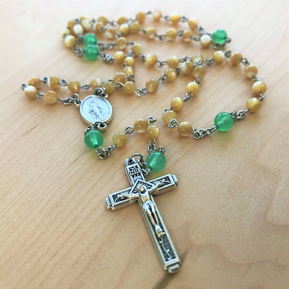 Shell-leluia Rosary by Born Again Rosaries with Natural Shell and Green Aventurine Beads and Miraculous Medal Center
