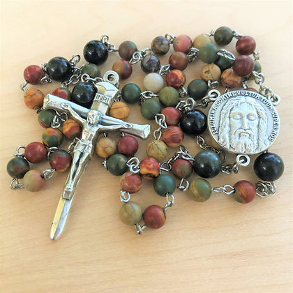 Divine Power Rosary by Born Again Rosaries with Picasso Jasper Obsidian and Holy Face Center