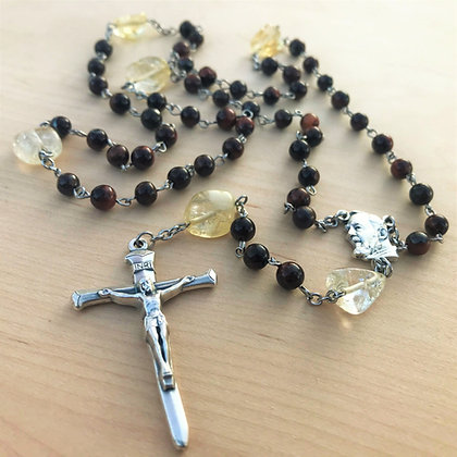 Quartz Compassion Rosary by Born Again Rosaries with Red Tiger's-Eye, Chunk Citrine, and Padre Pio Center