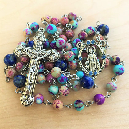 Azure Grace Rosary by Born Again Rosaries with Emperor Jasper, Lapis Lazuli, and Bejeweled Our Lady of Grace Center