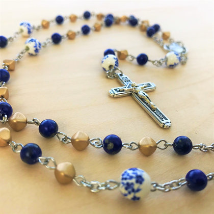 Indiana Gold Rosary by Born Again Rosaries with Lapis Lazuli, Czech Glass, and Ceramic Beads with Sacred Heart Center