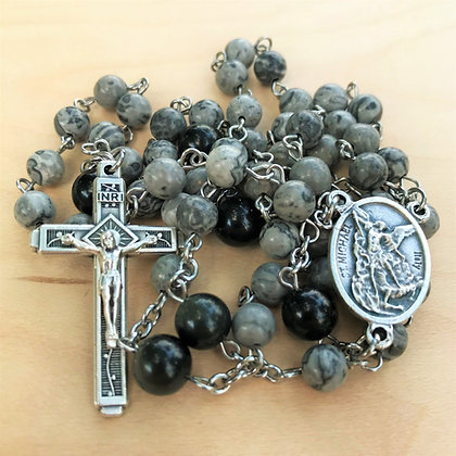 Grey Guardian Rosary by Born Again Rosaries with Jasper and Obsidian Beads, Saint Micahel and Guardian Angel Center