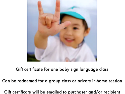 Baby Sign Class Gift Certificate