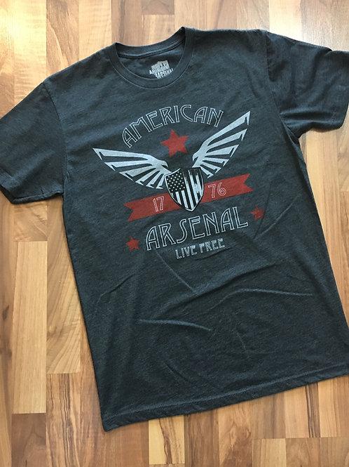 Mens - Charcoal American Wings Tee