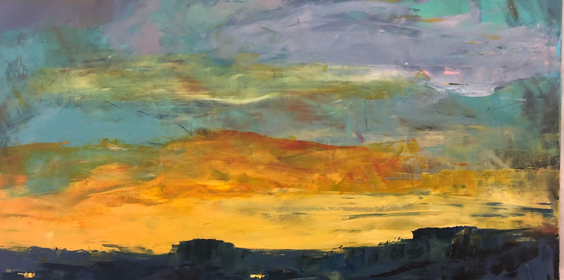 Sunset Cold Wax and Oil on Panel 35 x 25 $700