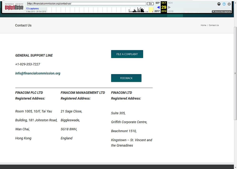 Finacom показывает свои адреса регистрации аж в 3 странах