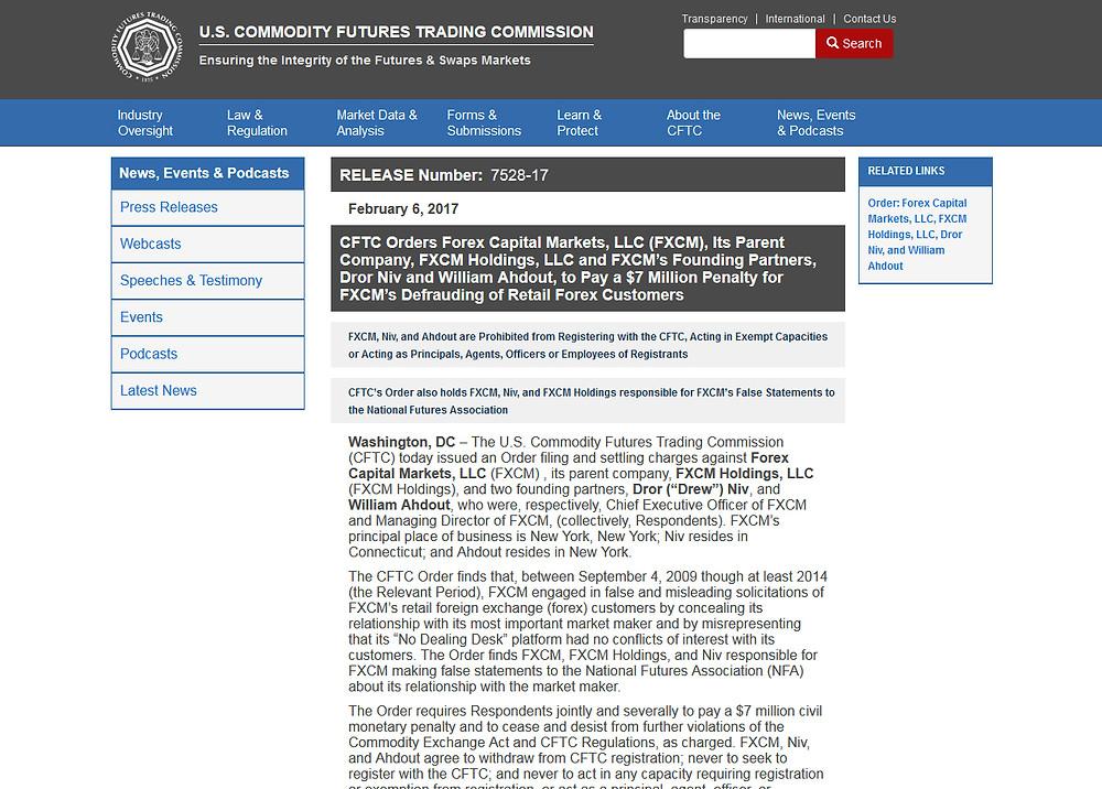 Скриншот с сайта US CFTC