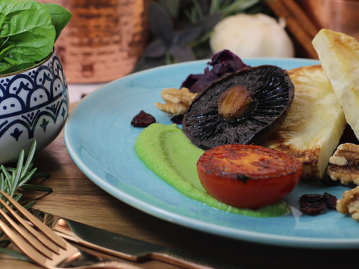 Celeriac Steak With Mushrooms, Tomatoes, Red Cabbage and Pea Puree Recipe.