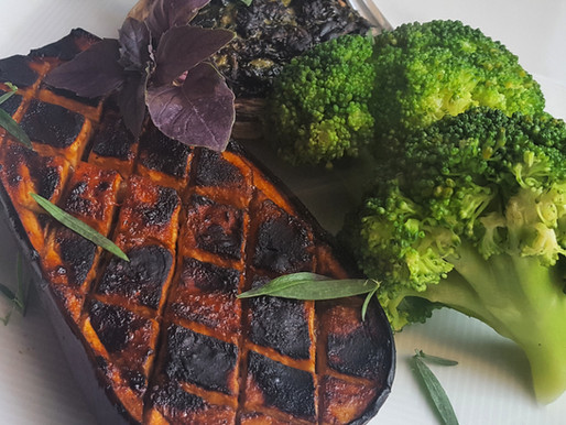 Vegan Aubergine Steak With Stuffed Mushrooms and Brocolli Recipe