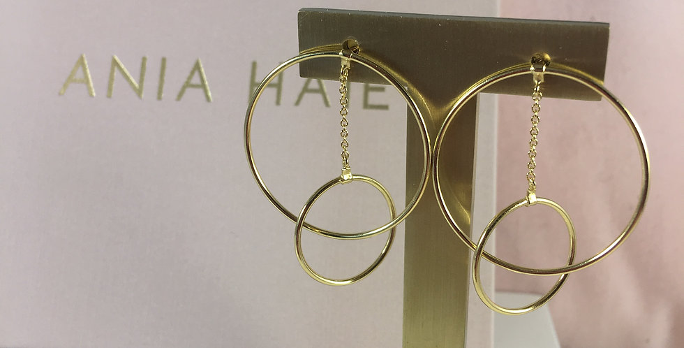 Modern Front Hoop Earrings Gold