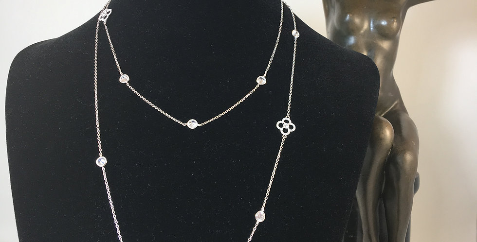 """Clover Stations 36"""" Long Silver Necklace"""