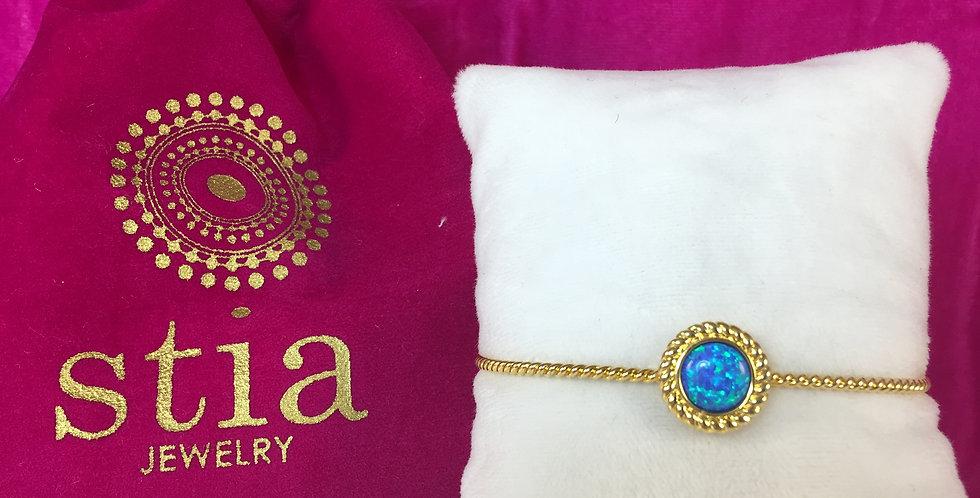 Power of Attraction Bracelet Rope Bezel Blue Opal
