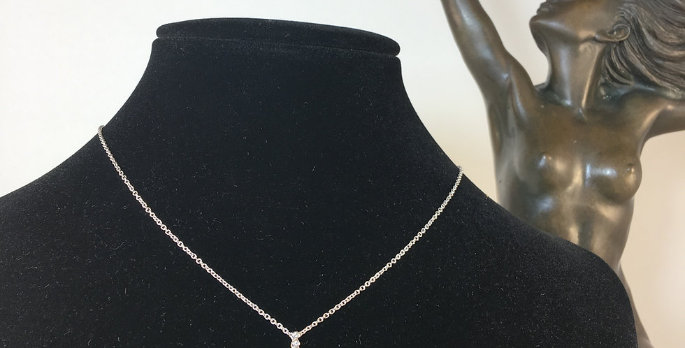 Elegant Diamond Silver Necklace